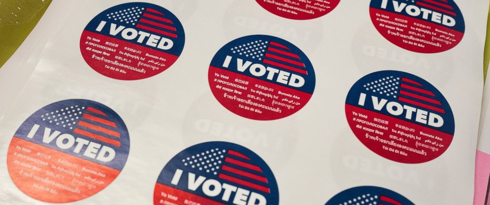 """I Voted"" stickers wait for voters at a polling station inside the library at Robert F. Kennedy Elementary School in Los Angeles on Tuesday, June 5, 2018."