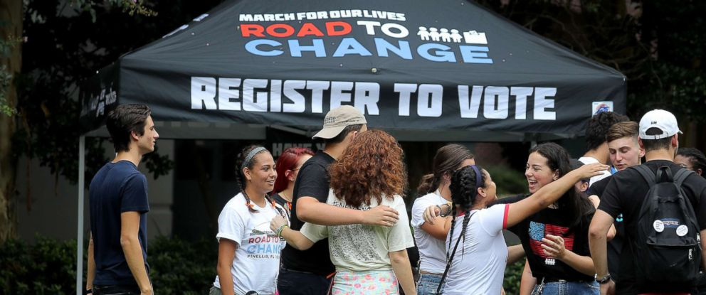 PHOTO: Students and supporters from the March for Our Lives movement greet each other as the Road to Change bus tour in Tallahassee, Fla. for a rally to gather support and register voters.