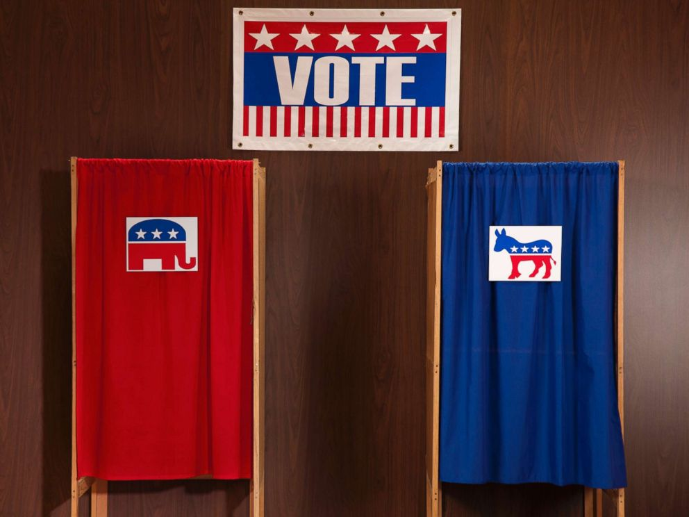 PHOTO: Voting booths are pictured at a polling place in this undated stock photo.