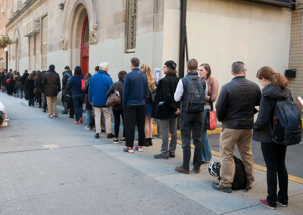 PHOTO: Voters wait in line at the polls to cast their ballot in the national election on Nov. 8, 2016 in New York.