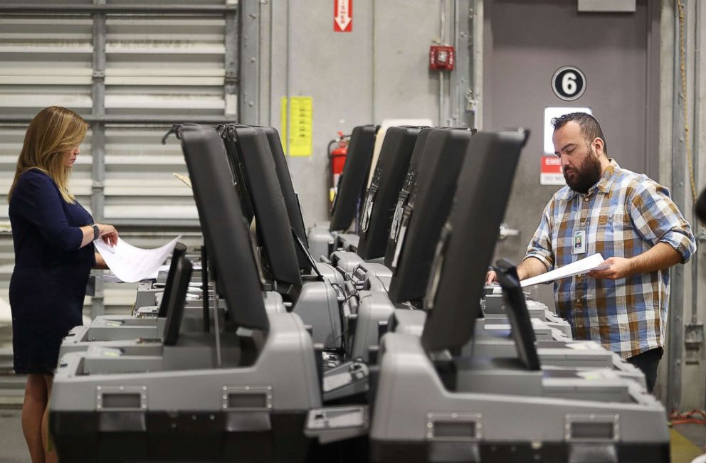 PHOTO: Miami-Dade election support specialists check voting machines for accuracy at the Miami-Dade Election Department headquarters on Aug. 8, 2018 in Doral, Fla.