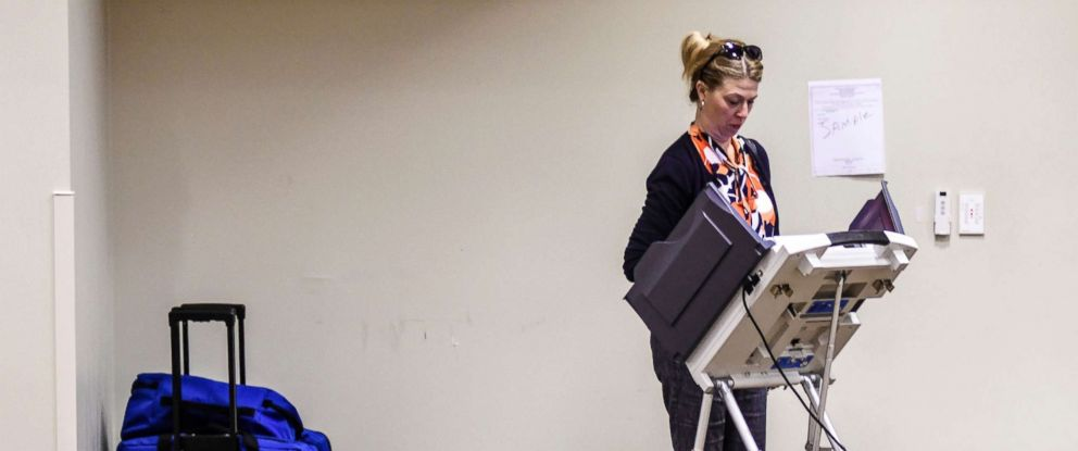 PHOTO: Merrill Nordstrom votes during a Mississippi primary at the Oxford Conference Center in Oxford, Miss., June 26, 2018.