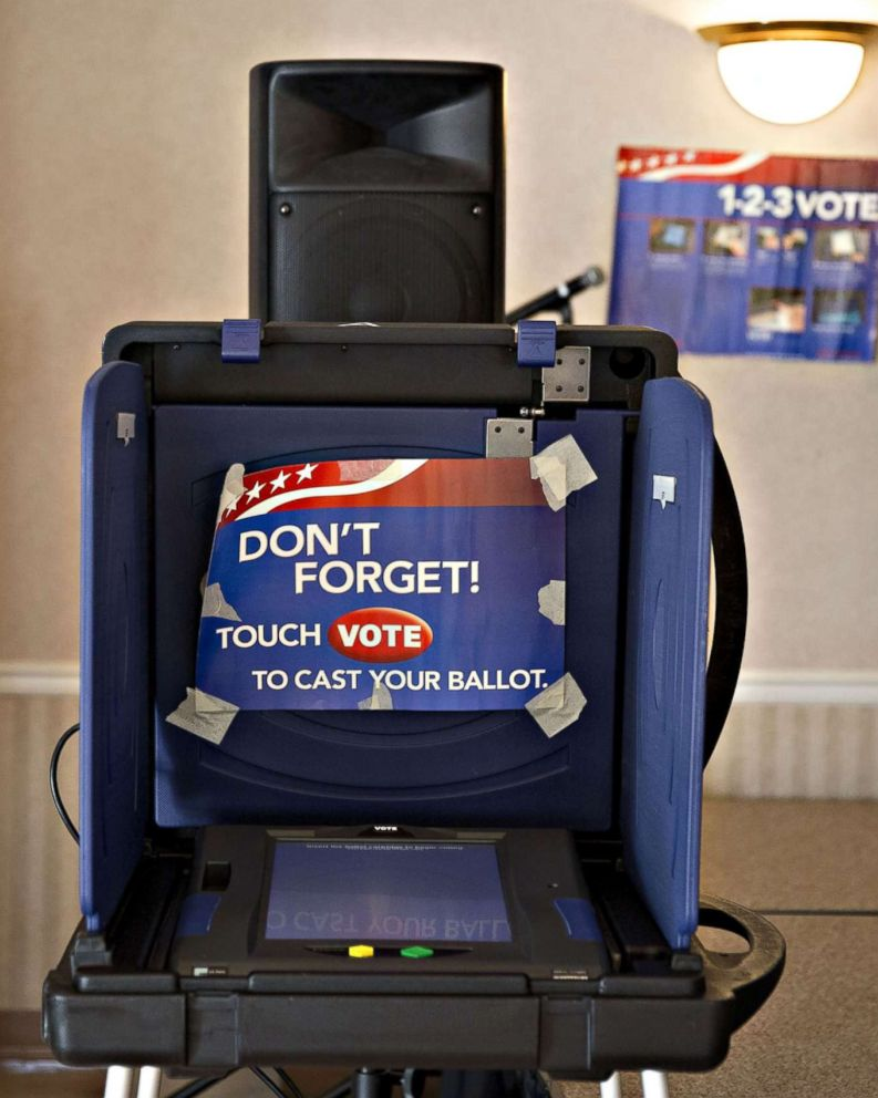 PHOTO: An electronic voting booth stands at a polling station inside Our Savior Lutheran Church during the South Carolina Republican presidential primary election in Columbia, South Carolina on Feb. 20, 2016.