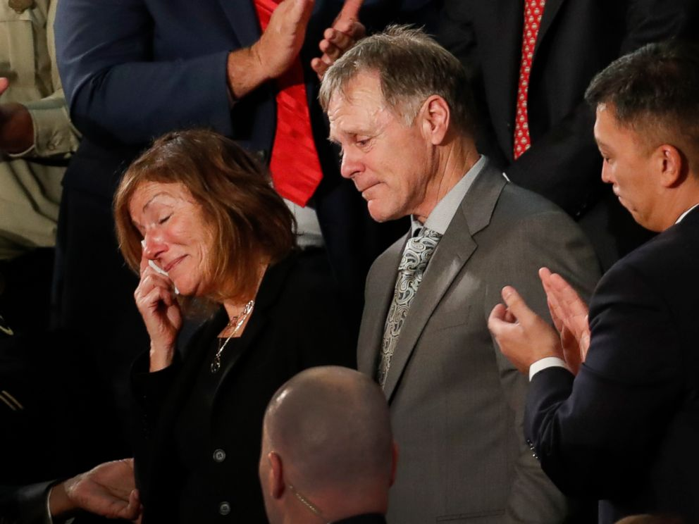 PHOTO: The parents of Otto Warmbier react to a standing ovation during State of the Union address to a joint session of Congress on Capitol Hill in Washington, D.C., Jan. 30, 2018.