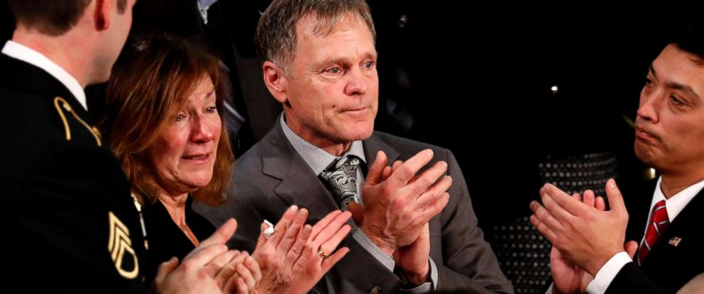 PHOTO: Otto Warmbiers parents Fred and Cindy Warmbier applaud as President Donald Trump talks about the death of their son Otto after his arrest in North Korea during the State of the Union address in Washington, D.C., Jan. 30, 2018.