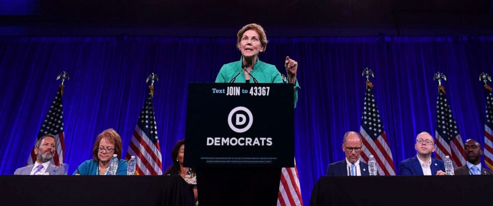 PHOTO: Democratic Presidential hopeful Elizabeth Warren speaks on-stage during the Democratic National Committees summer meeting in San Francisco, California on August 23, 2019.