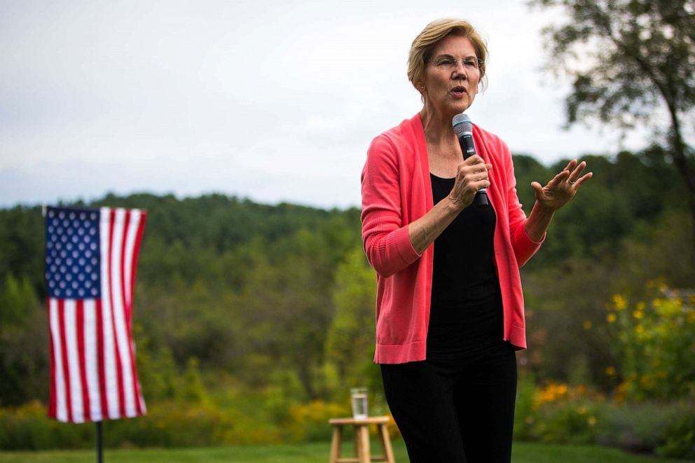 PHOTO: U.S. Senator and presidential candidate Elizabeth Warren speaks at a house party in Hampton Falls, NH on Sep. 2, 2019.