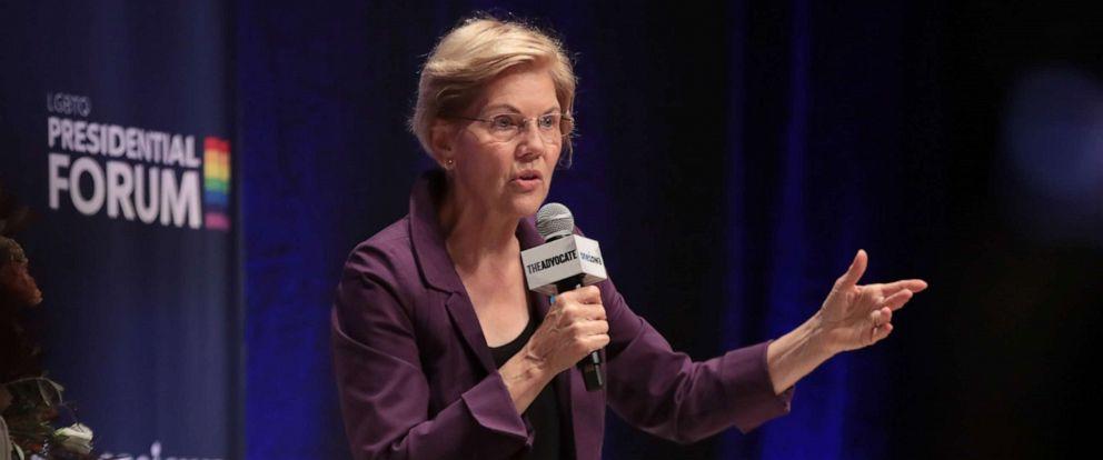 PHOTO: Democratic presidential candidate Massachusetts Senator Elizabeth Warren speaks at an LGBTQ presidential forum on September 20, 2019 in Cedar Rapids, Iowa.