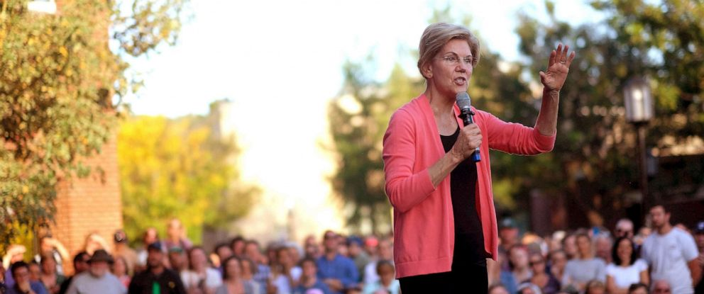 PHOTO: U.S. Senator and presidential candidate Elizabeth Warren campaigns at a town hall event on the Student Union Lawn at Keene State College in Keene, NH on Sep. 25, 2019.
