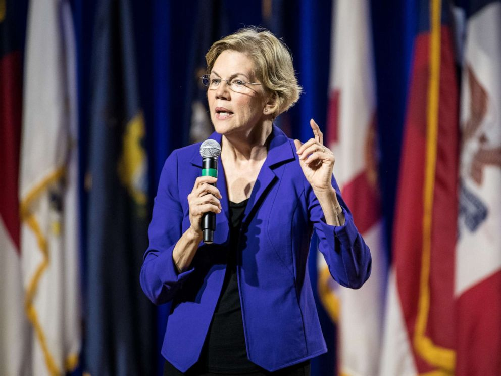 PHOTO: Democratic presidential candidate, Sen. Elizabeth Warren addresses the audience at the Environmental Justice Presidential Candidate Forum at South Carolina State University on November 8, 2019 in Orangeburg, South Carolina.