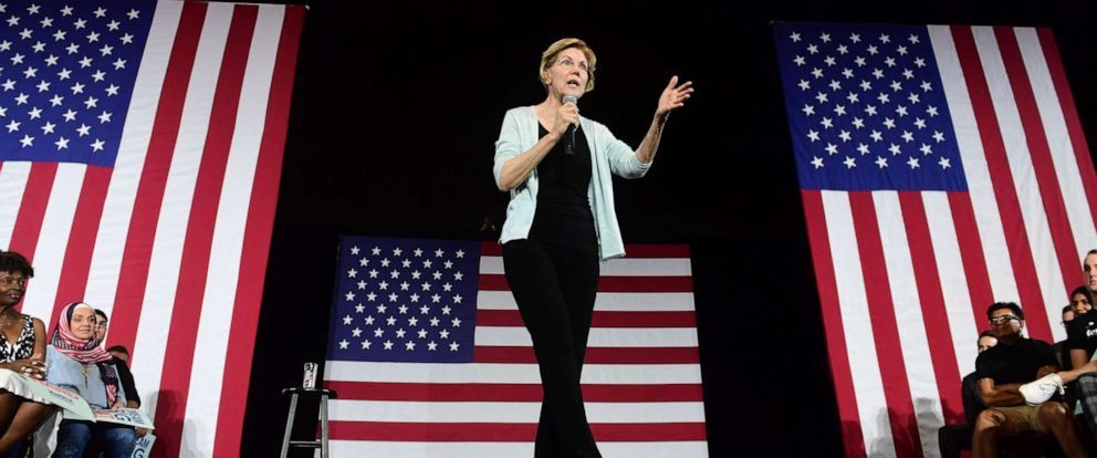 PHOTO: 2020 Democratic Presidential hopeful Senator Elizabeth Warren hosts a town hall at the Shrine Auditorium in Los Angeles, California on August 21, 2019.