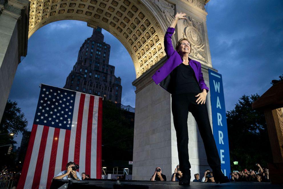 PHOTO: Sen. Elizabeth Warren arrives for a rally in Washington Square Park on September 16, 2019 in New York City.