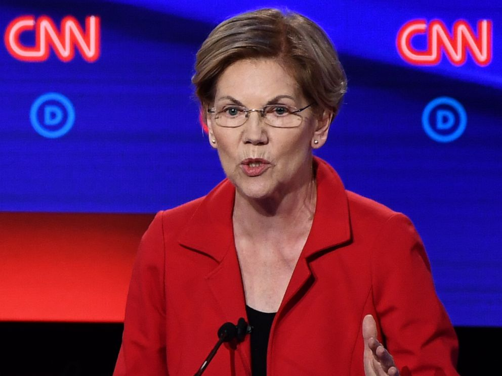 PHOTO: Democratic presidential hopeful Senator Elizabeth Warren speaks during the first round of the second Democratic primary debate in Detroit, July 30, 2019.