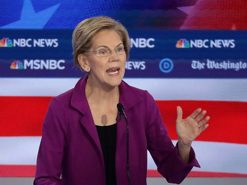PHOTO: Sen. Elizabeth Warren (D-MA) speaks during the Democratic Presidential Debate, Nov. 20, 2019, in Atlanta.