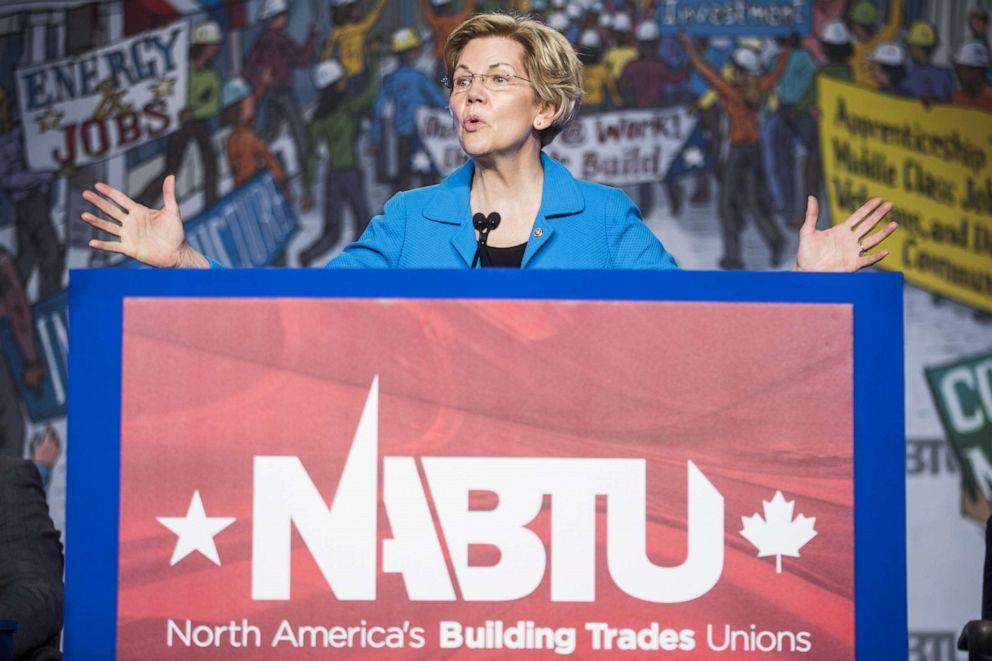 PHOTO: Sen. Elizabeth Warren (D-MA) speaks during the North American Building Trades Unions Conference, April 10, 2019, in Washington, D.C.