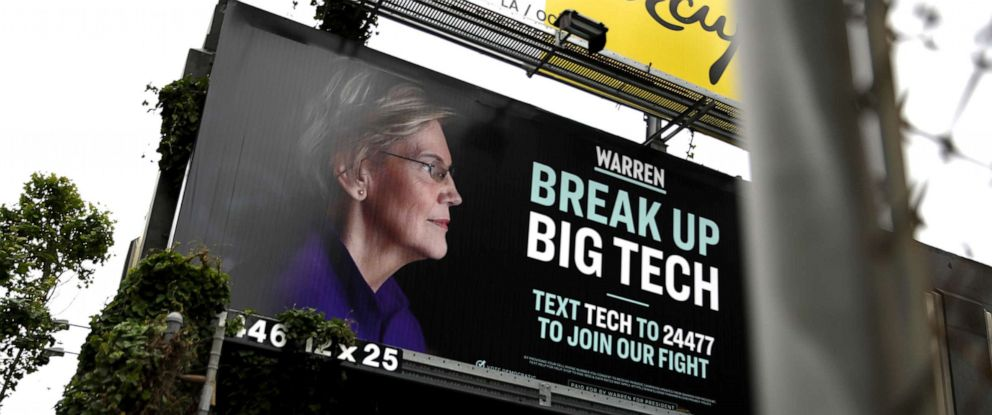 PHOTO: A billboard with an image of Democratic presidential hopeful Sen. Elizabeth Warren (D-MA), May 30, 2019, in San Francisco.
