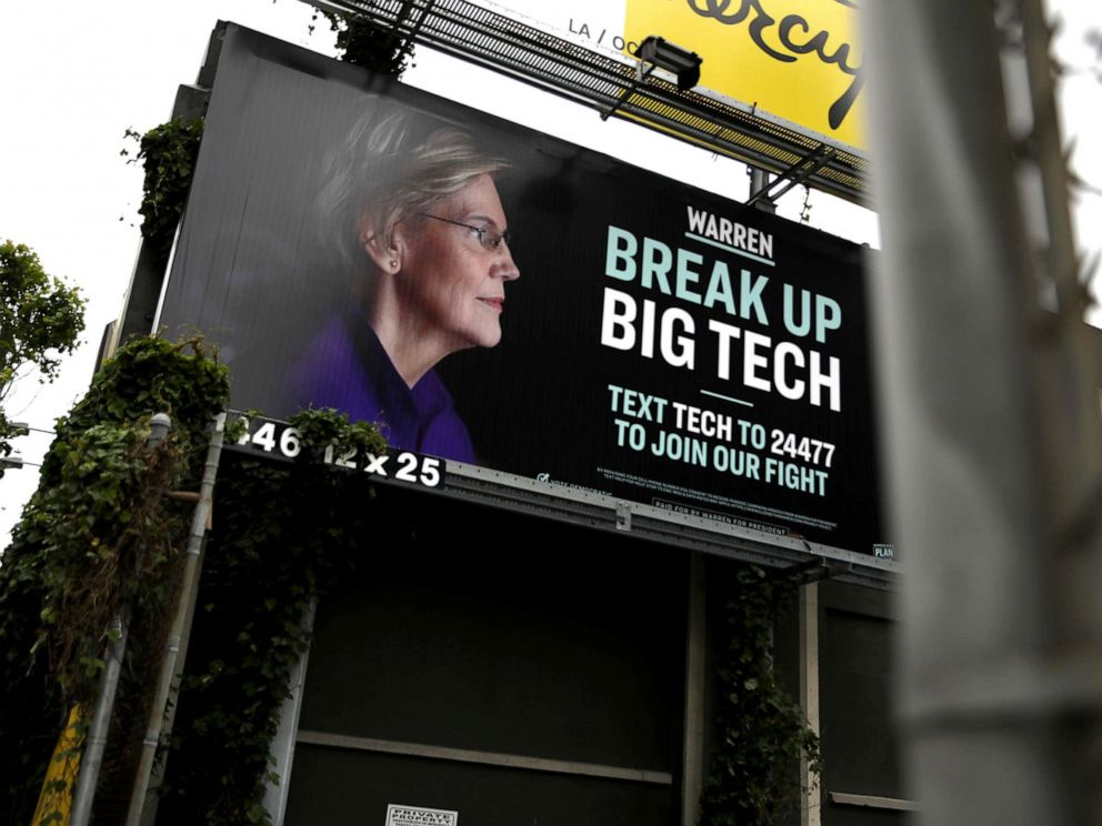 PHOTO: A billboard with an image of Democratic presidential hopeful Sen. Elizabeth Warren (D-MA), May 30, 2019, in San Francisco.
