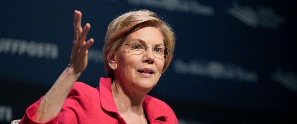 PHOTO: Democratic presidential candidate Sen. Elizabeth Warren, D-Mass., speaks at the Heartland Forum held on the campus of Buena Vista University in Storm Lake, Iowa, March 30, 2019.
