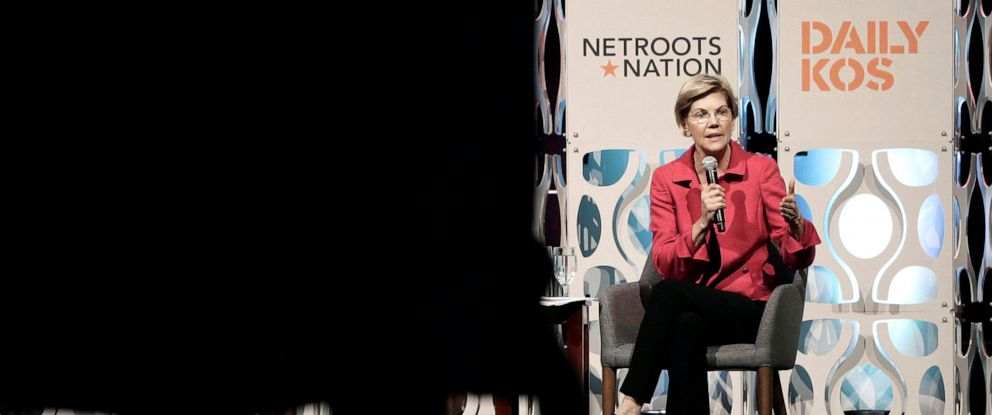 PHOTO: Democratic presidential candidate Elizabeth Warren speaks during a forum sponsored by Netroots, July 13, 2019, in Philadelphia.