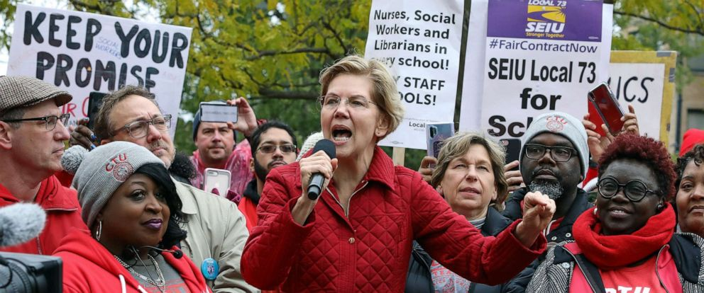 PHOTO: Democratic presidential candidate Elizabeth Warren calls for people across the country to support striking Chicago teachers after joining educators picketing outside an elementary school, Oct. 22, 2019, in Chicago.