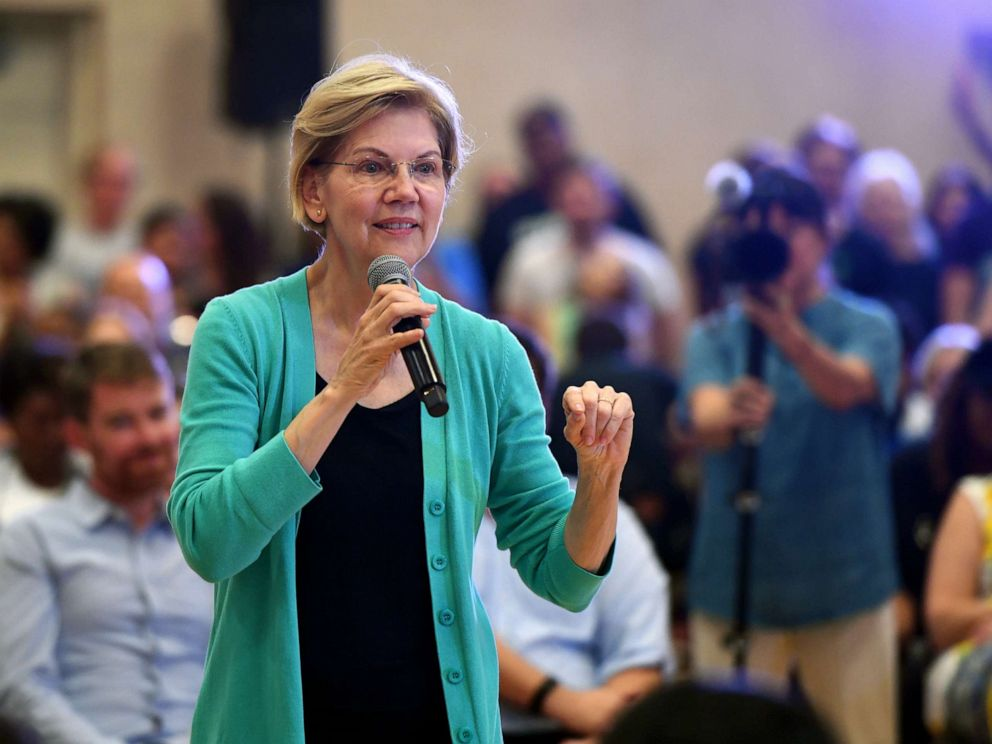 PHOTO: Democratic presidential candidate Sen. Elizabeth Warren speaks during a community conversation at the East Las Vegas Community Center on July 2, 2019 in Las Vegas, Nevada.