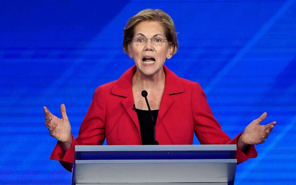PHOTO: Senator Elizabeth Warren speaks during the 2020 Democratic presidential debate in Houston, Texas, Sept. 12, 2019.