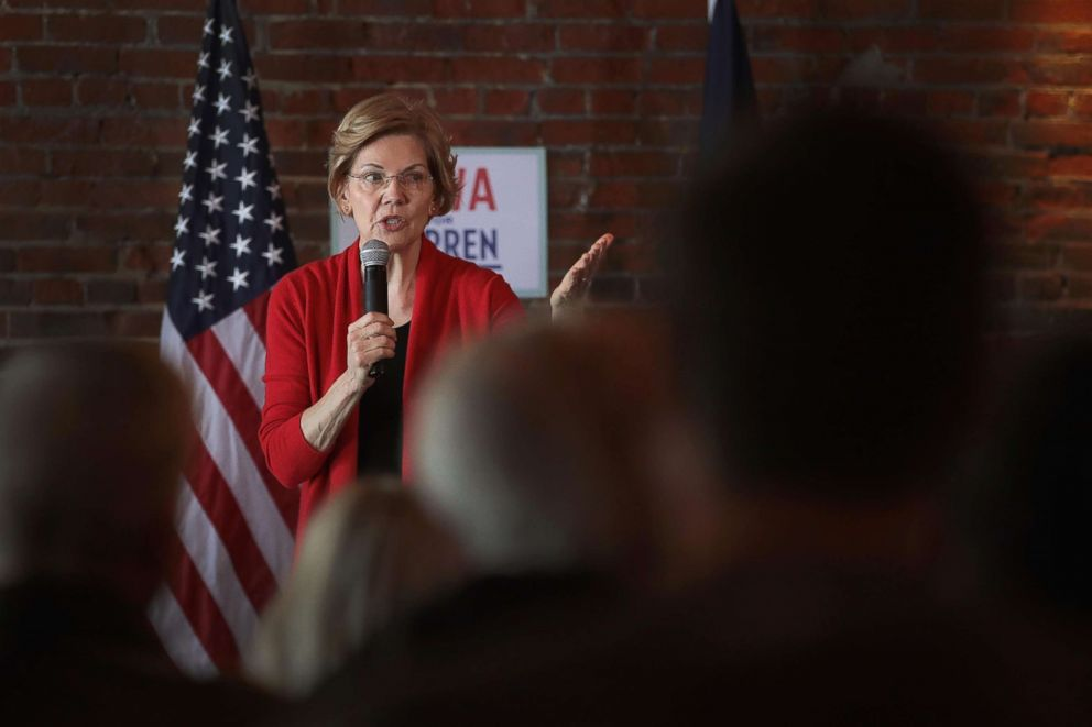 PHOTO: Sen. Elizabeth Warren (D-MA) speaks at a campaign rally at the Stone Cliff Winery, March 1, 2019, in Dubuque, Iowa.
