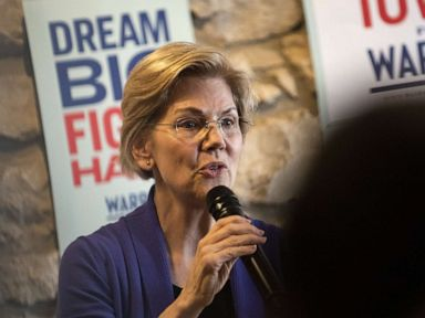 PHOTO: Democratic presidential candidate Sen. Elizabeth Warren (D-MA) speaks to a crowd during a campaign stop at Fat Hill Brewing, May 4, 2019, in Mason City, Iowa.