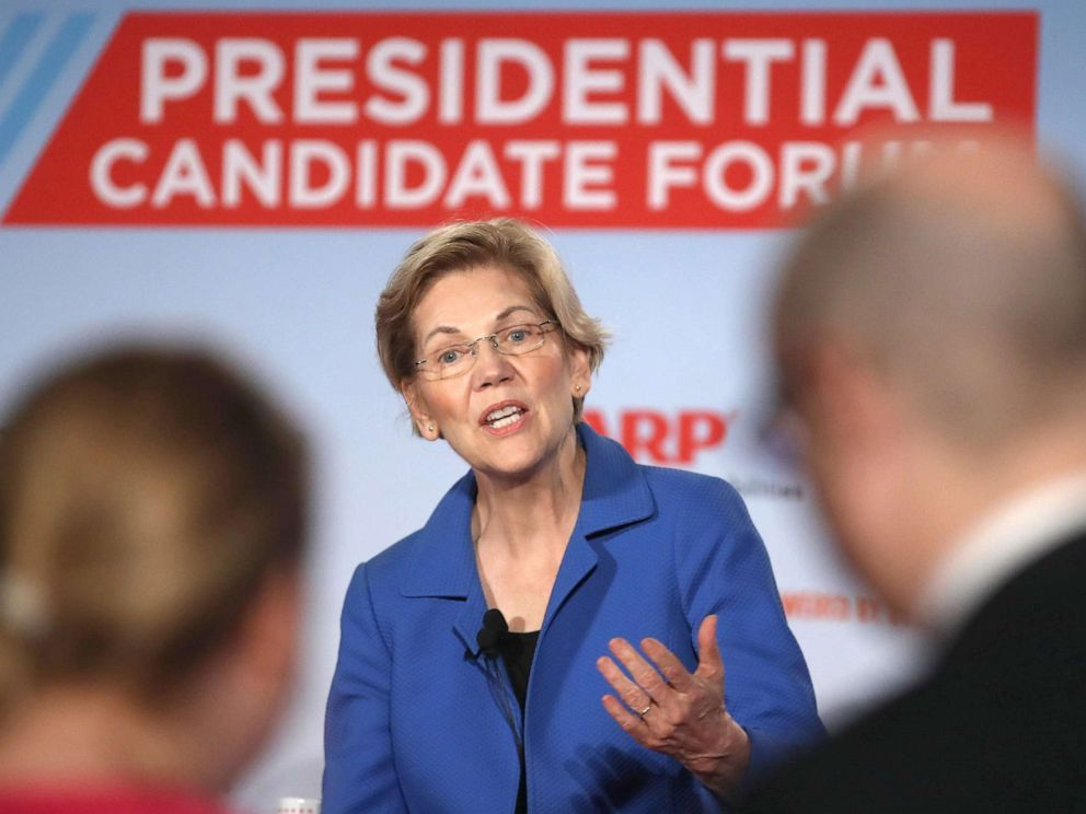 PHOTO:Democratic presidential hopeful Sen. Elizabeth Warren (D-MA) speaks during the AARP and The Des Moines Register Iowa Presidential Candidate Forum, July 19, 2019, in Sioux City, Iowa.
