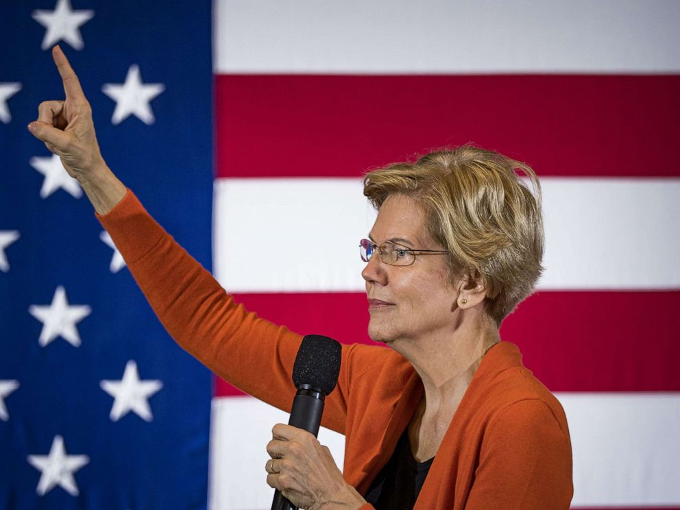 PHOTO: Senator Elizabeth Warren speaks to a crowd of about 500 students and local residents at Grinnell College in Grinnell, Iowa, Nov. 4, 2019.