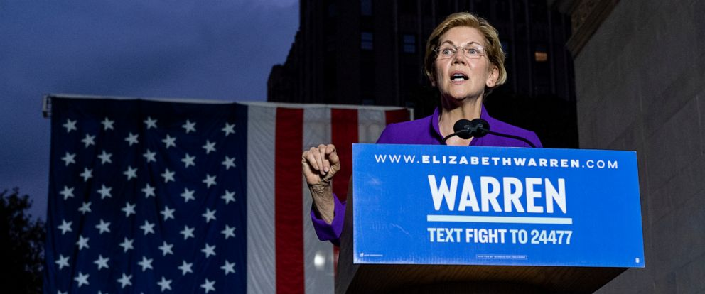 PHOTO: Democratic presidential candidate Sen. Elizabeth Warren addresses supporters at a rally, Sept. 16, 2019, in New York.