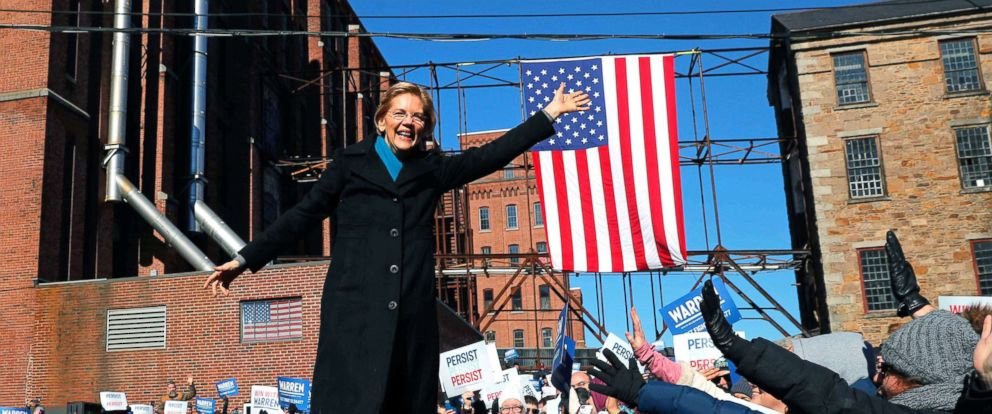 PHOTO: Potential 2020 Democratic presidential nomination candidate U.S. Senator Elizabeth Warren (D-MA) waves at the crowd ahead of a campaign rally in Lawrence, Mass., Feb. 9, 2019.
