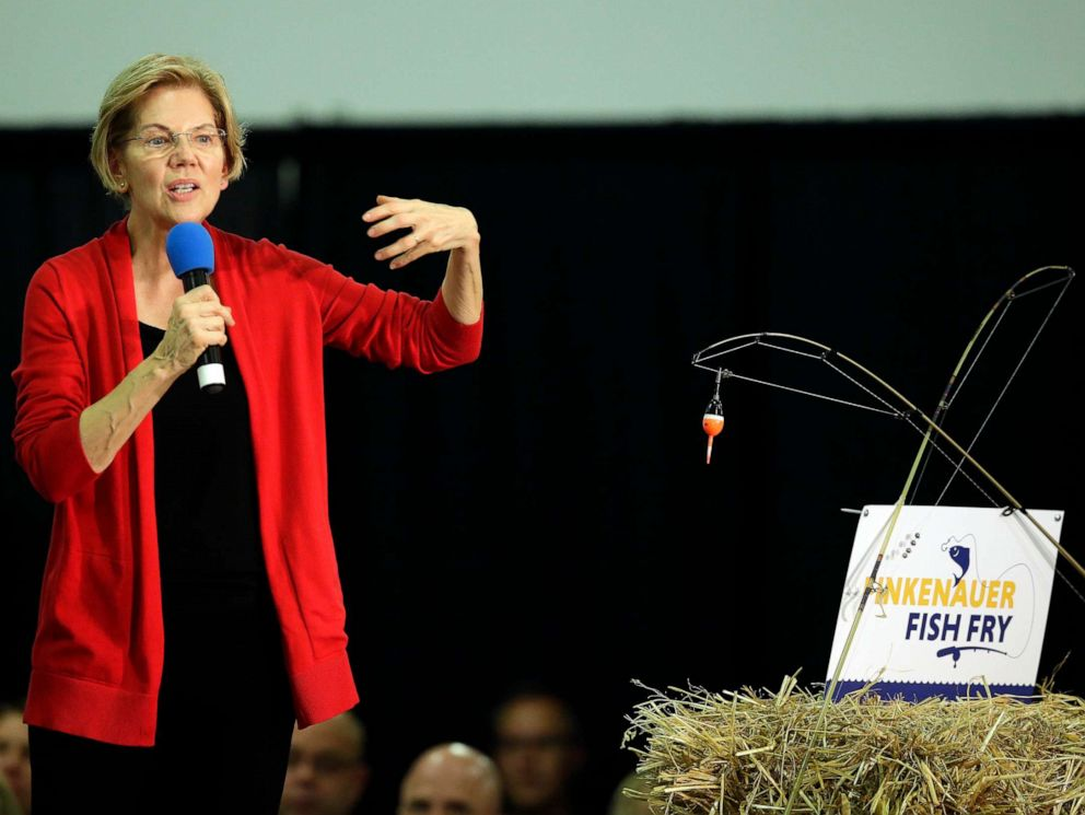 PHOTO: Sen. Elizabeth Warren, D-Mass., speaks to guests during the Finkenauer Fish Fry at the Hawkeye Downs Event Center on Nov. 2, 2019, in Cedar Rapids, Iowa.