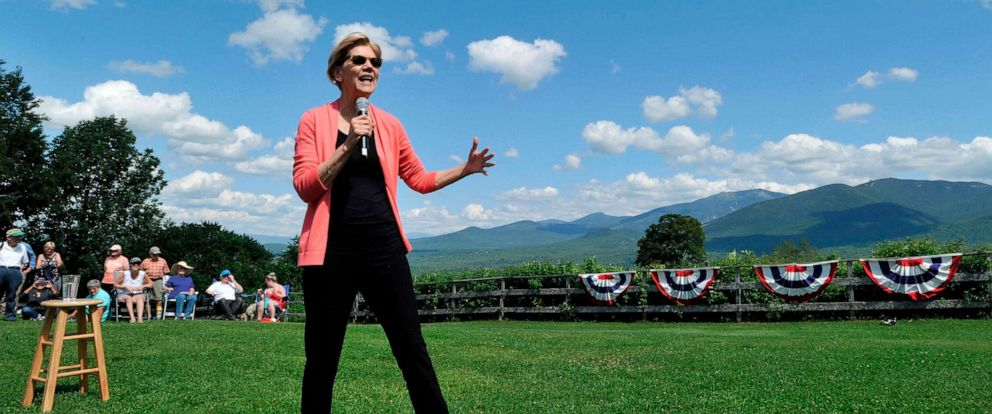 PHOTO: Democratic presidential candidate Elizabeth Warren speaks to supporters during a campaign stop and town hall at Toad Hill Farm in Franconia, New Hampshire, overlooking the White Mountains on Aug. 14, 2019.