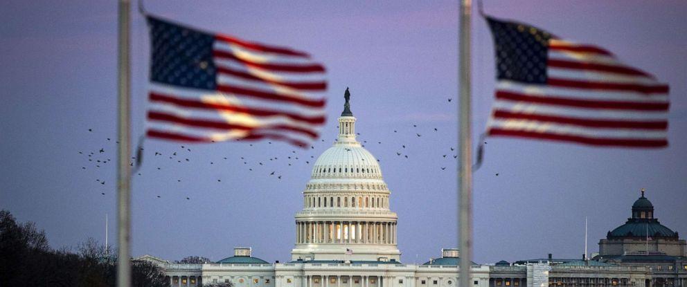PHOTO: The U.S. Capitol is seen through American flags in Washington, Dec. 3, 2018.