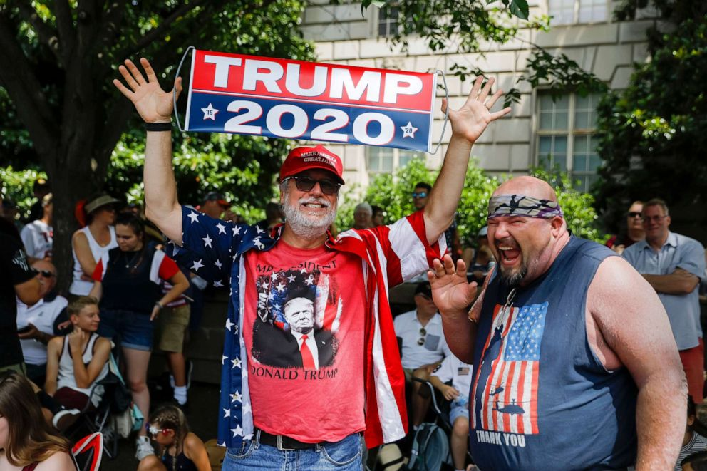 PHOTO: Supporters of President Donald Trump join others to watch an Independence Day parade along Constitution Avenue in Washington, D.C., July 4, 2019.