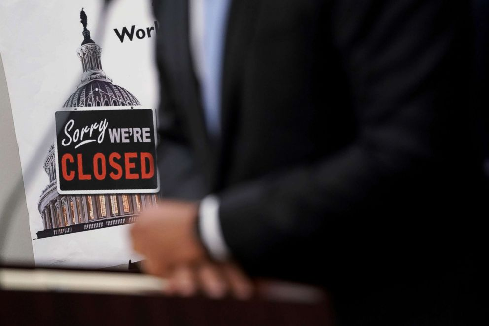PHOTO: A Closed sign is seen during a news conference after a House Democratic Caucus meeting at the U.S. Capitol, Jan. 9, 2019, in Washington, D.C.