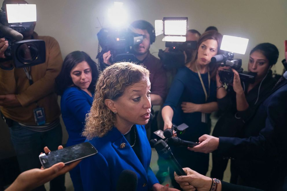 PHOTO: Rep. Debbie Wasserman Schultz speaks with reporters on Capitol Hill in Washington, D.C., Feb. 27, 2019.