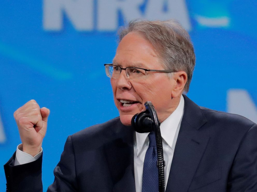 PHOTO: Wayne LaPierre, executive vice president and CEO of the National Rifle Association, speaks at the NRA annual meeting in Indianapolis, Indiana, April 26, 2019.
