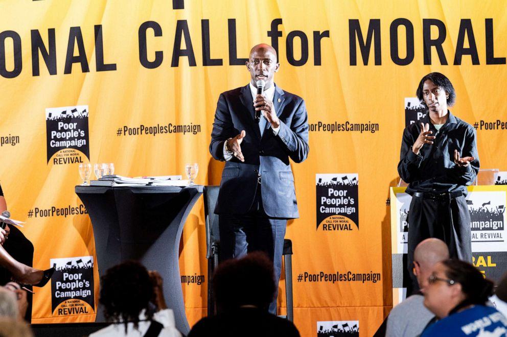 PHOTO: Mayor of Miramar, Wayne Messam speaks at the Poor Peoples Moral Action Congress taking place at Trinity Washington University in Washington, DC on June 17, 2019.