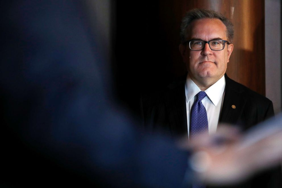 PHOTO: Environmental Protection Agency (EPA) Acting Administrator Andrew Wheeler listens as he is introduced to speak to EPA staff, July 11, 2018, at EPA Headquarters in Washington D.C.