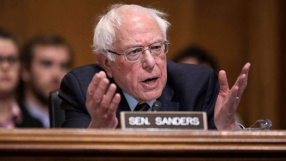 Sen. Bernie Sanders questions Andrew Wheeler during his confirmation hearing to be the next administrator of the Environmental Protection Agency on Capitol Hill, in Washington, Jan. 16, 2019.