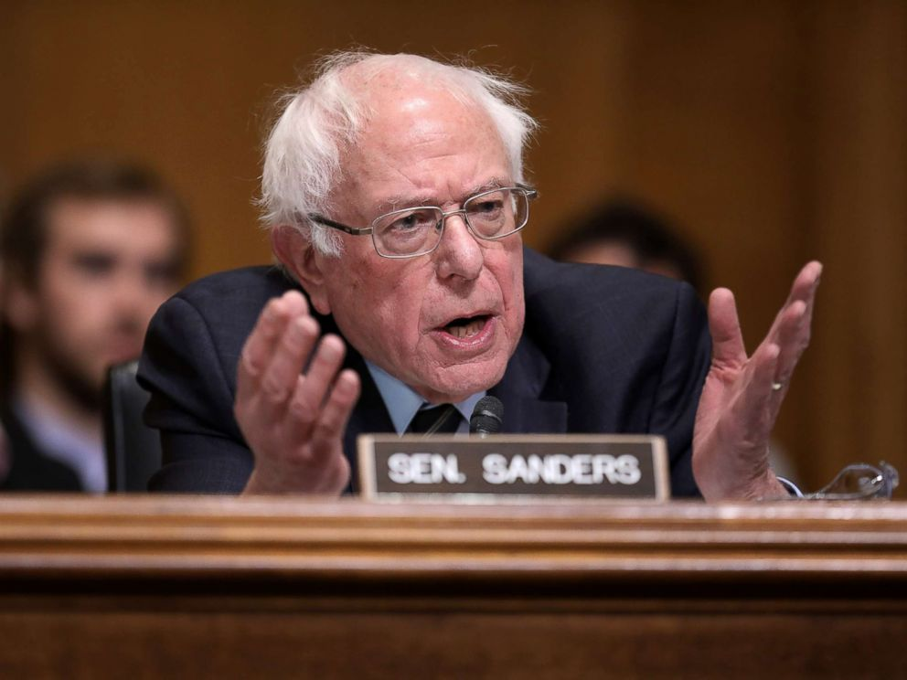 PHOTO: Sen. Bernie Sanders questions Andrew Wheeler during his confirmation hearing to be the next administrator of the Environmental Protection Agency on Capitol Hill, in Washington, Jan. 16, 2019.