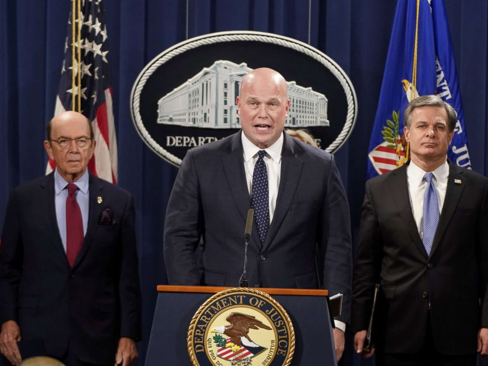 PHOTO: Acting Attorney General Matthew Whitaker holds a news conference to announce indictments against Chinas Huawei Technologies Co Ltd, at the Justice Department in Washington D.C., Jan. 28, 2019.