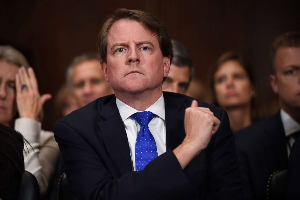 PHOTO: White House Counsel and Assistant to President Donald Trump, Donald McGahn, listens to Supreme Court nominee Brett Kavanaugh as he testifies before the US Senate Judiciary Committee on Capitol Hill, Sept. 27, 2018.