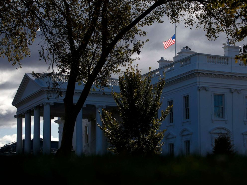 PHOTO: The flag above the White House flies at half-staff honoring Rep. Elijah Cummings, who passed away, Oct. 17, 2019.