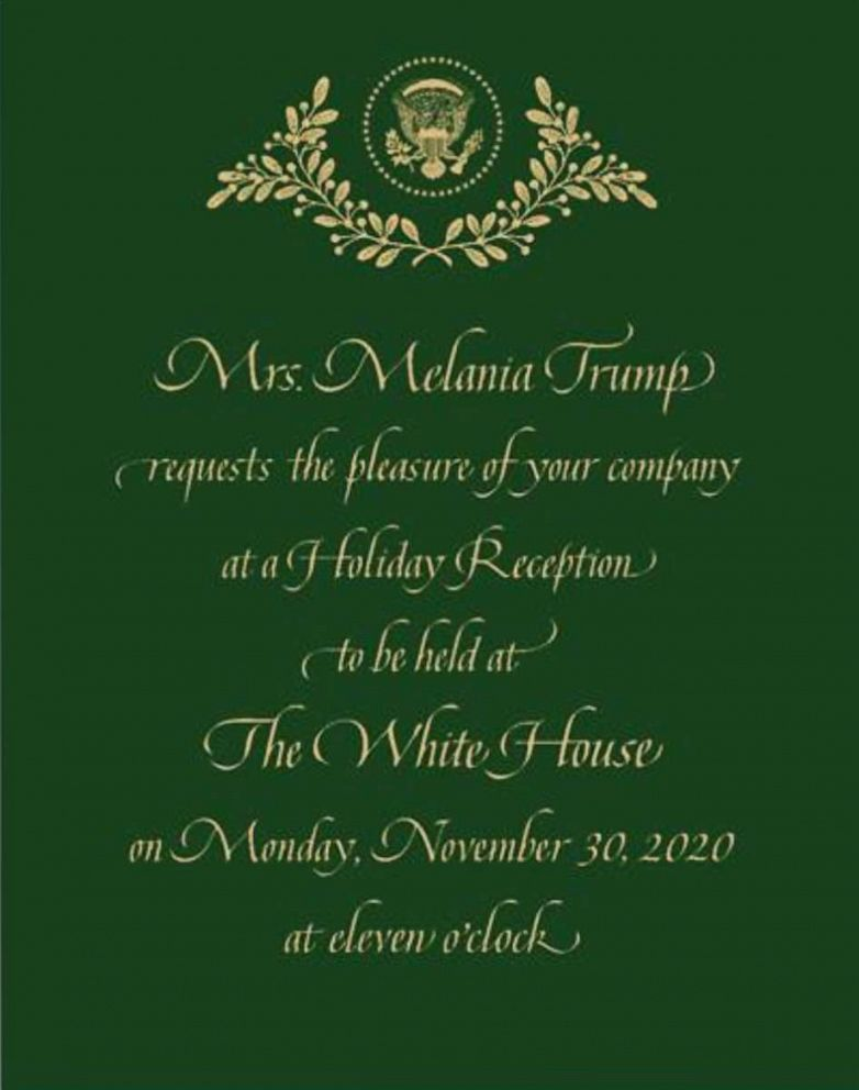 PHOTO: ABC News obtained an invitation to a holiday reception scheduled for Nov. 30, at the White House.