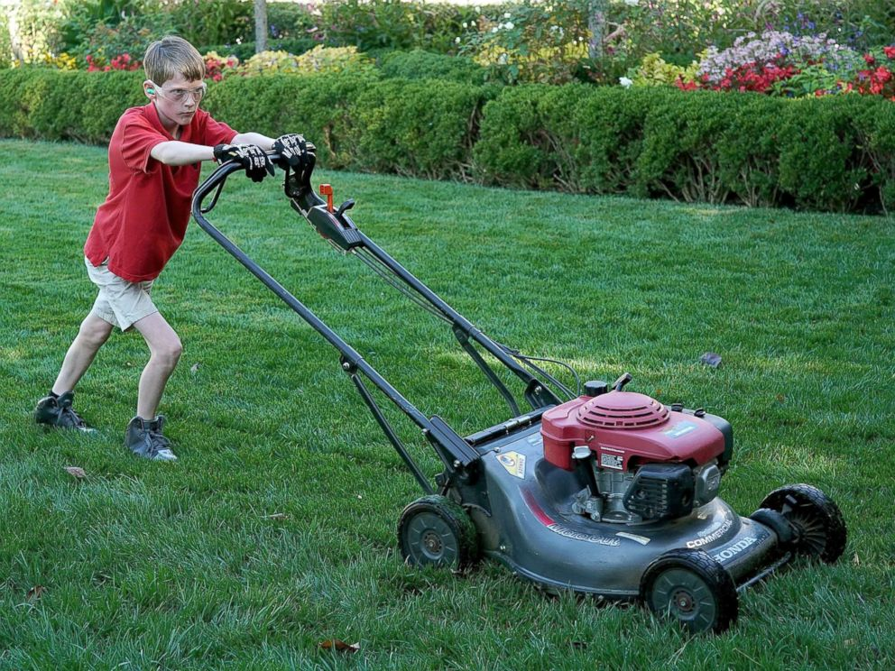 Image result for child mowing lawn