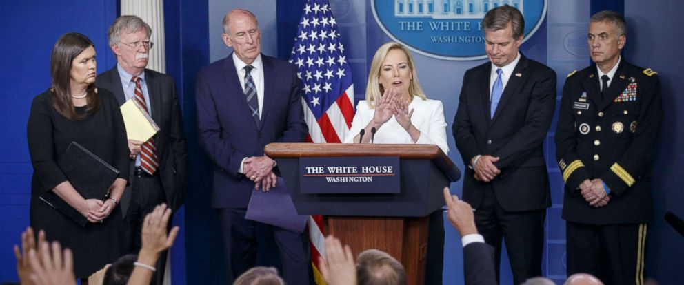 PHOTO: Secretary of Homeland Security Kirstjen Nielsen answers a question at a White House press briefing with Sarah Huckabee Sanders, John Bolton, Dan Coats, Christopher Wray and General Paul Nakasone at the White House in Washington, Aug. 2, 2018.