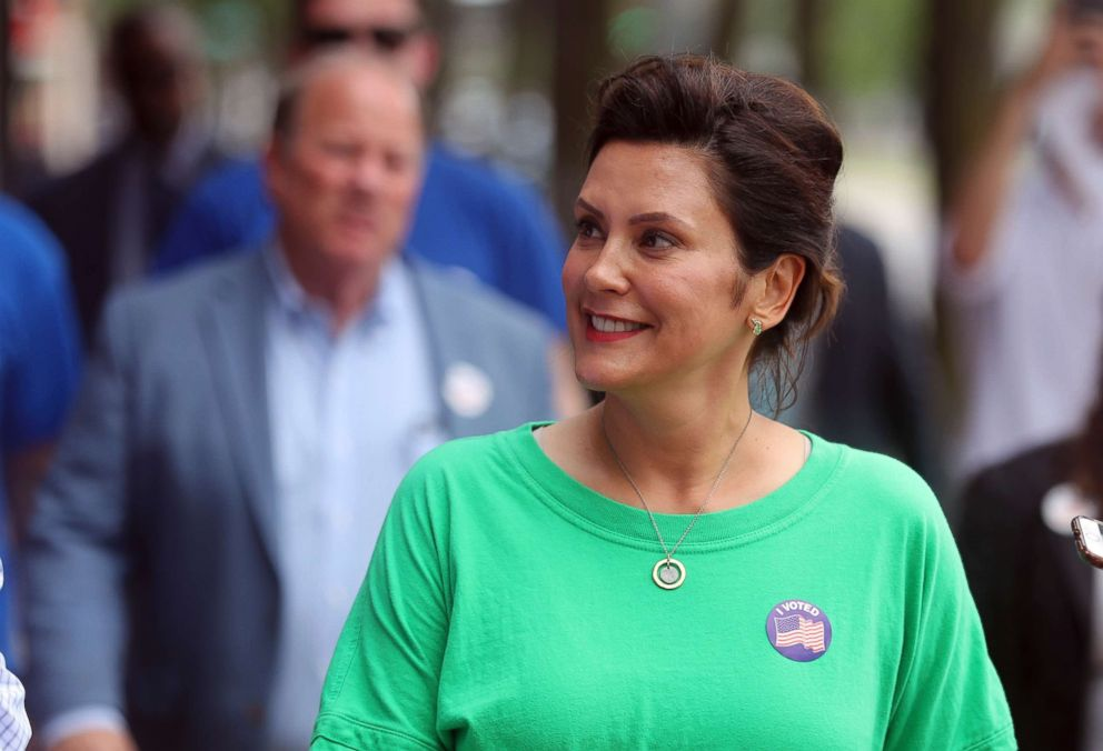 PHOTO: Michigan Democratic gubernatorial candidate Gretchen Whitmer takes a tour with with Detroit Mayor Mike Duggan, Aug. 7, 2018.